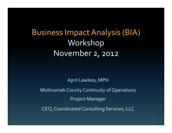 Business Impact Analysis (BIA) Workshop ... - ResilienceNW.org
