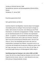 Vortrag von Winfried Hermann, MdB Sportpolitischer Sprecher der ...