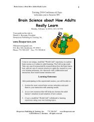 Brain Science about How Adults Really Learn - Sharon Bowman