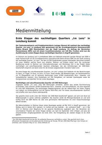 """Erste Etappe des nachhaltigen Quartiers """"Im Lenz"""" in ... - Losinger"""
