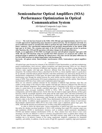 Semiconductor Optical Amplifiers (SOA) Performance ... - IJCSET