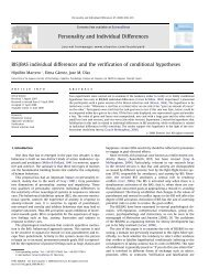 BIS/BAS individual differences and the verification of conditional ...