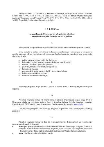 N A T J E Č A J za predlaganje Programa javnih potreba u kulturi ...
