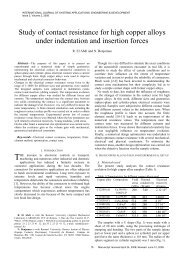 Study of contact resistance for high copper alloys ... - university press