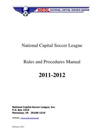 National Capital Soccer League Rules and Procedures ... - NCSL