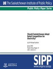The Saskatchewan Institute of Public Policy - University of Regina