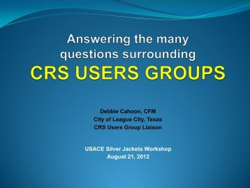 What is the purpose of a users group? - Flood Risk Management ...