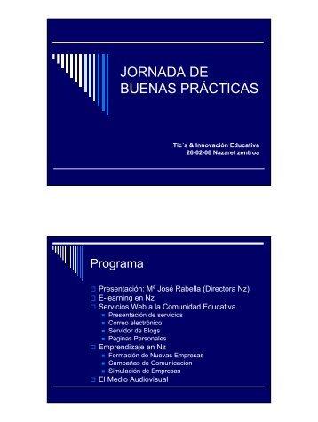 JORNADA DE BUENAS PRÁCTICAS - Nazaret zentroa