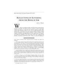 Reflections on Suffering from the Book of Job - Dallas Theological ...