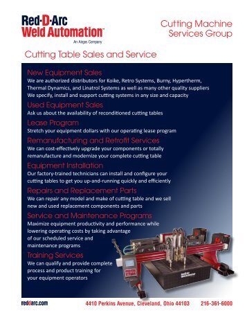 Cutting Machine Services Group Cutting Table Sales ... - Red-D-Arc