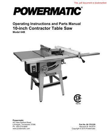 Powermatic Model 66 Table Saw Manual Pdf Woodworkers Guild