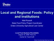 Local and Regional Foods: Policy and Institutions - Drake University ...