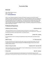 Curriculum Vitae Personal Professional Experience
