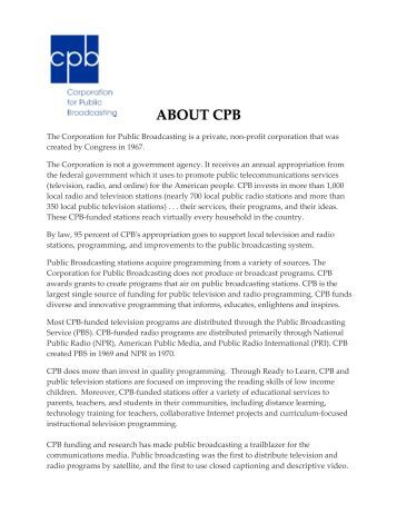 ABOUT CPB - Major Giving Initiative