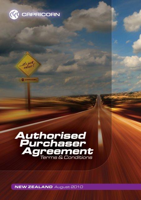 New Zealand Authorised Purchaser Agreement ... - Capricorn Society