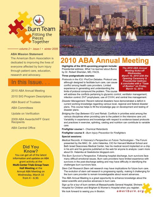 2010 ABA Annual Meeting - American Burn Association