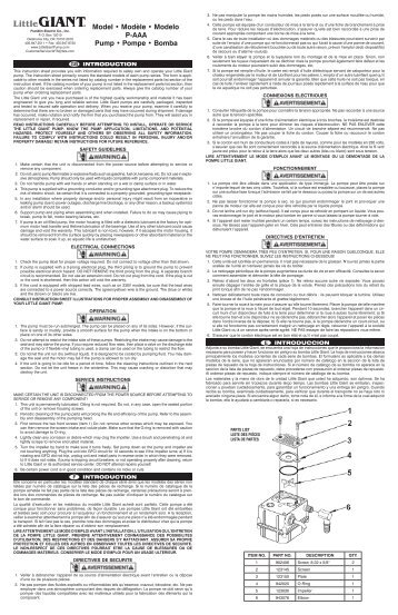 Model • Modèle • Modelo P-AAA Pump • Pompe ... - Franklin Electric