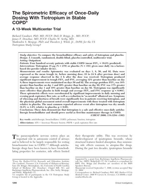 The Spirometric Efficacy of Once-Daily Dosing With Tiotropium in ...
