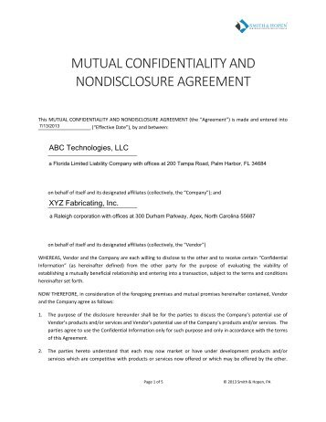 Non Disclosure Agreement Initial Here Nai Commercial