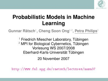Probabilistic Models in Machine Learning