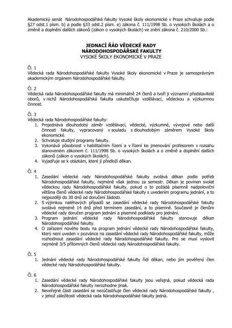 Akademický senát fakulty národohospodářské Vysoké školy ...