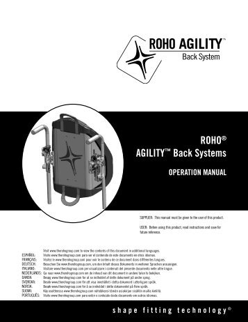 ROHO® AGILITY™ Back Systems OPERATION MANUAL