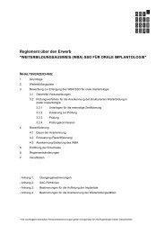 Reglement zur Erlangung des WBA in oraler Implantologie