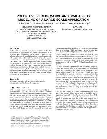 predictive performance and scalability modeling of a large ... - SC2001