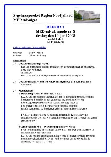 Sygehusapoteket Region Nordjylland MED-udvalget REFERAT ...