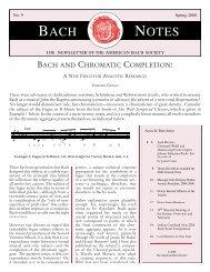 Bach Notes No. 9 (Spring 2008) - The American Bach Society