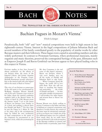 Bach Notes No. 6 (Fall 2006) - The American Bach Society