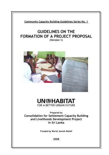 guidelines on the formation of a project proposal - UN HABITAT