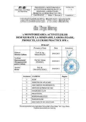 Procedura Monitorizarea activ desf seminar, laboratoare, proiecte IFR