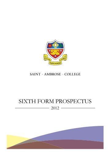 SIXTH FORM PROSPECTUS - St Ambrose College