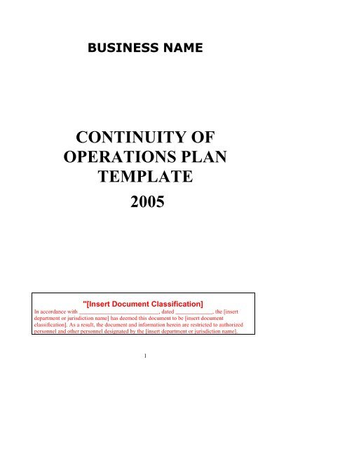 Continuity Of Operations Plan Template Sedgwick County