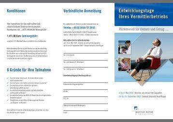 Flyer Entwicklungstage 2009 Termine, Inhalte, Trainer und ...