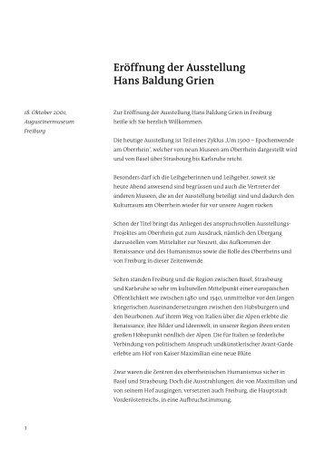 Eröffnung der Ausstellung Hans Baldung Grien - Dr. Rolf Böhme