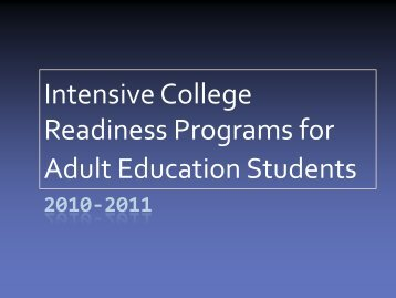 Intensive College Readiness Programs for Adult Education Students