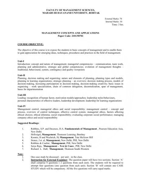 MBA-2 Year - MDU, Rohtak