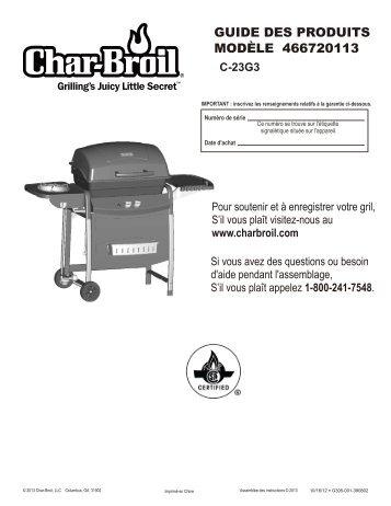 GUIDE DES PRODUITS MODÈLE 466720113 - Char-Broil Grills