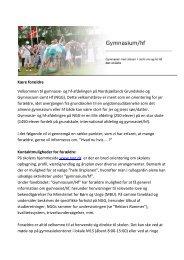 infobrev til forældre - Nordsjællands Grundskole og Gymnasium