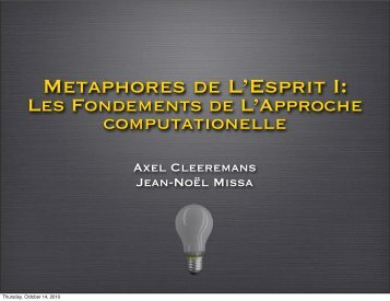 Métaphores de l'Esprit I - Cognitive Science Research Unit