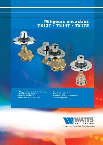 Mitigeurs encastrés T8137 • T8147 • T8175 - Watts Industries