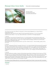 Rezept Aloe Vera Seife Kosmetik & Schönheitspflege ... - Spinnrad