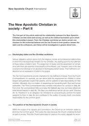 The New Apostolic Christian in society – Part II