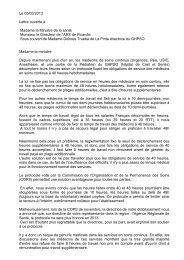 Le 05/03/2013 Lettre ouverte à Madame la Ministre de la santé ...
