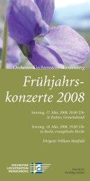 Flyer Frühjahrskonzerte - OLW - Orchester Liechtenstein-Werdenberg