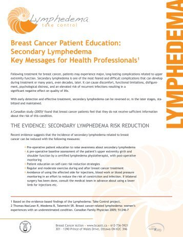 Breast Cancer Patient Education: Secondary Lymphedema Key ...