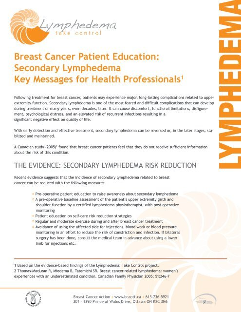 Breast Cancer Patient Education: Secondary Lymphedema Key
