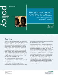 repositioning family planning in senegal - Health Policy Project